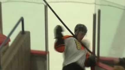 Ice Hockey Player Clotheslines Himself