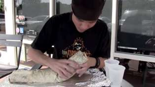 Guy Eats HUGE Burrito in Under Two Minutes