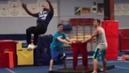 Gymnist Does Backflip & Lands In Trousers