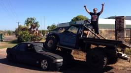 Angry Man Drives His Truck On To Ex's Car (NSFW)