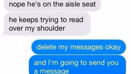 Girl Hilariously Toys With Creeper Reading Her Texts Over Her Shoulder