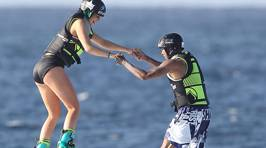 Kylie Jenner & Tyga Hold Hands As They Try Out Their Jetpacks
