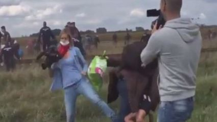Hungarian Camerawoman Fired For Deliberately Tripping Syrian Refugees
