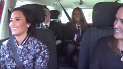 Demi Lovato Picks Up Three Fans From School And Drives Them Home