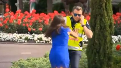 Woman Pushes Police Officer Into The Bushes At The Melbourne Cup