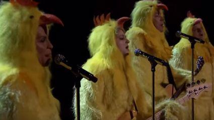 "Jimmy Fallon, Alanis Morissette & Meghan Trainor Dress As Chicken's And Cluck ""Ironic"""