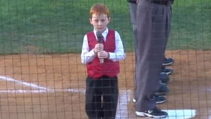 Little Boy Battles to Sing National Anthem Through Hiccups