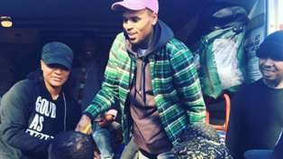 Chris Brown Hands Out Turkeys to the Homeless For Thanksgiving