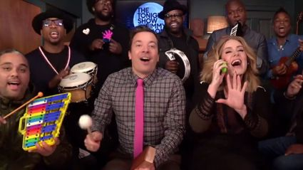 "Adele Joins Jimmy Fallon to Perform ""Hello"" With Classroom Instruments"