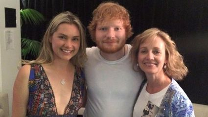 Crash victim Andrew Orr's girlfriend Caitlin Crisp and mother Kristin Orr met Ed Sheeran to thank him for the song Photograph which got them through hard times. Photo / Facebook
