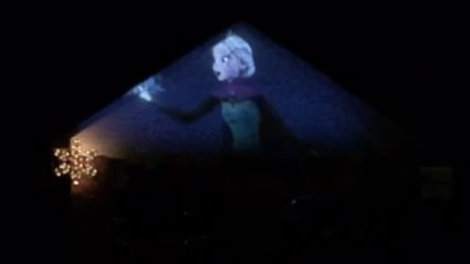 """Frozen's """"Let It Go"""" Projected Onto a House and Synced With Christmas Lights"""