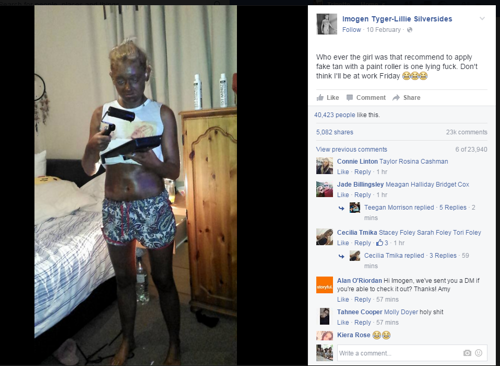 Scarborough woman uses a PAINT ROLLER to apply fake tan