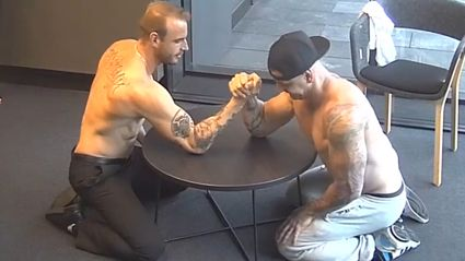 Our Strip Search Lads Arm Wrestle (Topless) In Studio