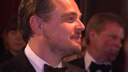 Watch Emotional Leo Get His First Statuette Engraved & Make ADORABLE Comment