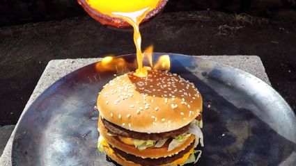 Guy Pouring Molten Copper Onto Big Mac = Satsifying