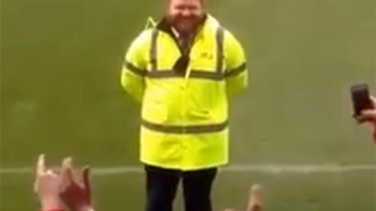 Football Fans Sing Ed Sheeran Songs to Doppelganger Security Guard