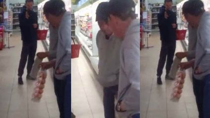 This Drunk Guy Can't Get Past His Own Reflection At The Supermarket