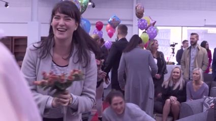 Producer Caitlin Catches Wedding Un-Planners Bouquet!