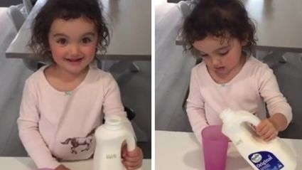 NOTHING is Funnier/Cuter Than Vaughan's 2y/o Daughter Trying To Pour Milk