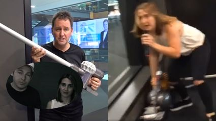 Watch Mike Hosking's savage response to Jase and PJ stealing his vacuum cleaner