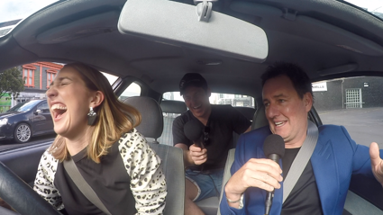 Mike Hosking rides in PJ's 1996 Toyota Corolla
