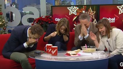 Watch this news team lose it on air after recipe goes horribly wrong