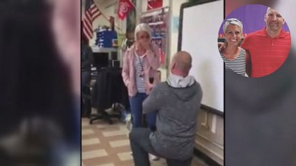 Teacher announces to class he's dating another teacher, then proposes in front of them