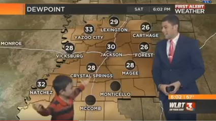 VIDEO: Young lad crashes weather report and farts on live TV