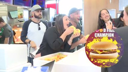 VIDEO: FVM give away hundreds of McDonald's cheeseburgers!
