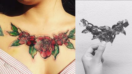 This girl's chest tattoo literally fell off and left a horrific scar