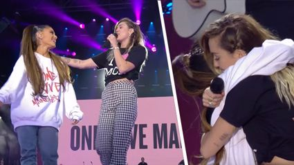 Ariana Grande and Miley Cyrus sing Kiwi song at One Love Manchester