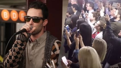 Maroon 5 busks in New York subway dressed in disguise