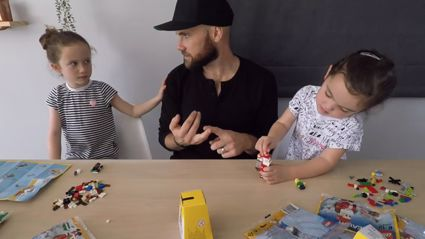 Vaughan and the girls make Lego Christmas decorations