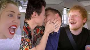 Harry Styles gives James Corden a cheeky kiss in Carpool Karaoke Xmas Edition!
