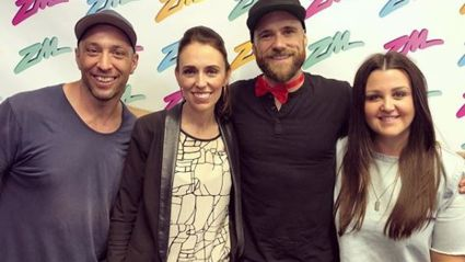 Photo / Fletch, Vaughan and Megan with Jacinda Ardern in 2017