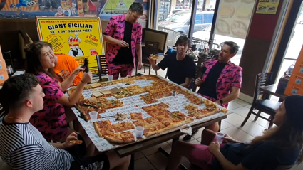 "Bree & Clint take on a 54"" pizza challenge with Drax Project"