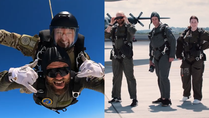 Fletch, Vaughan and Producer Anna Tandem Skydive with the NZ Air Force